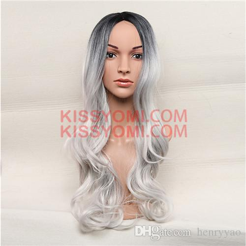Synthetic Hair Women Cheap Wigs Long Body Wave Black Ombre Silver Lolita Drag Party Celebrity Wig