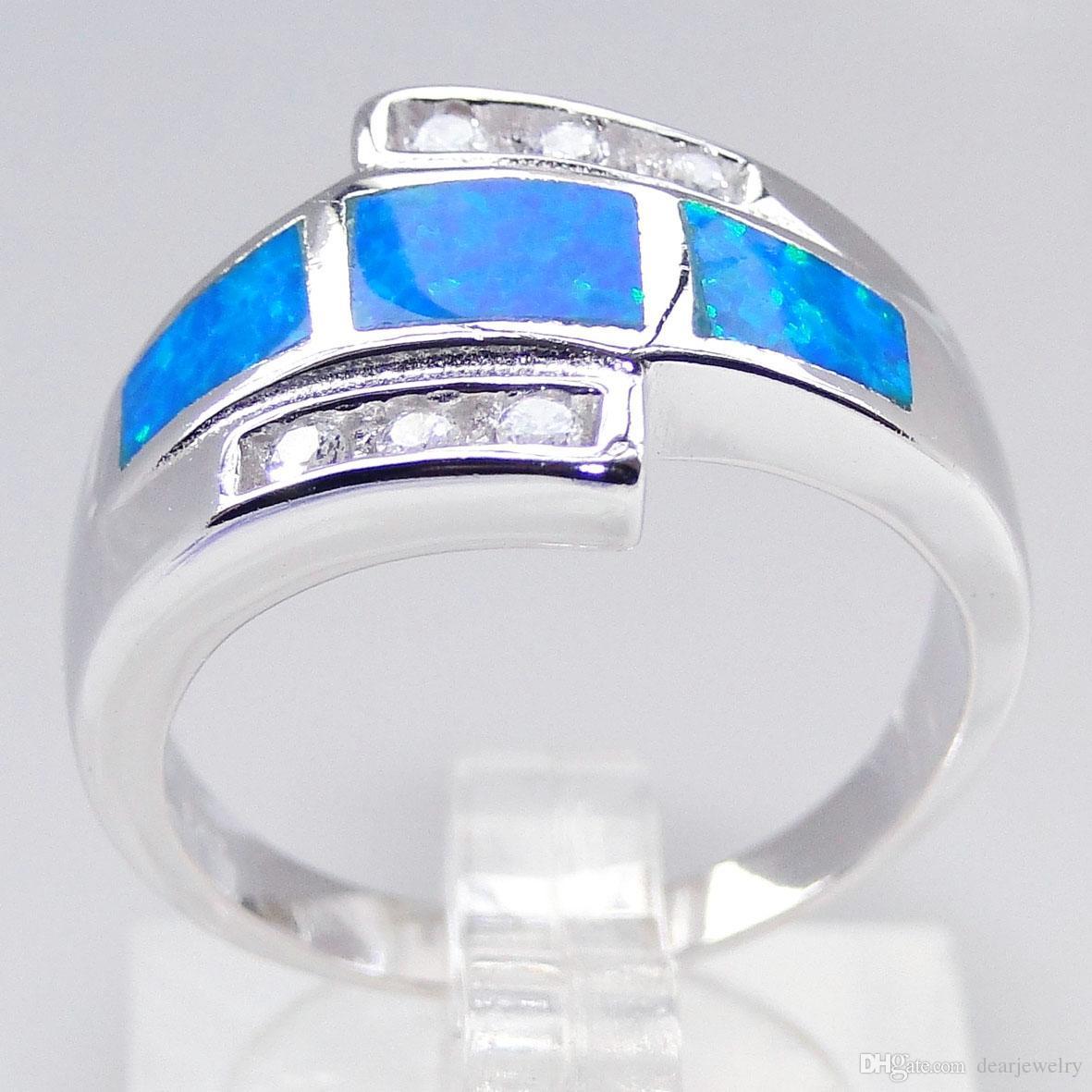 Nouveau mode bijoux australien en gros bleu opale bijoux mens opale rose anneaux plaqué rhodium DR00110R Taille5.6.7.8 Livraison gratuite