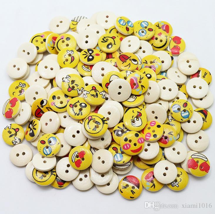 Different Colours Available Smiley Face Wooden Buttons Size 18mm