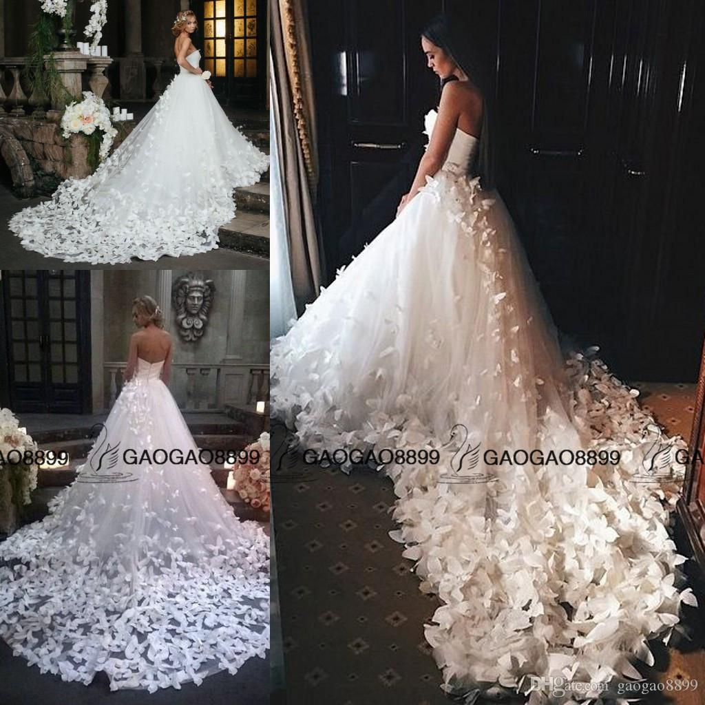 Speranza Couture 2019 Princess Wedding Dresses with Flowers And Butterflies in Cathedral Train Arabic Middle East Church Garden Wedding Gown