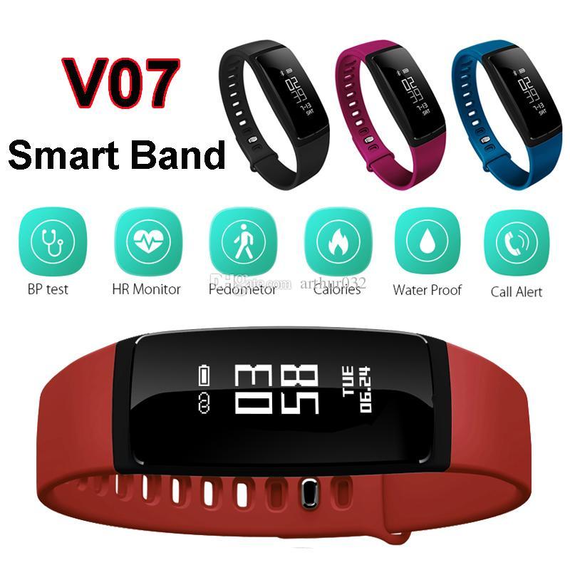 Pressão Arterial SmartBand V07 Banda Inteligente Pulseira Monitor de Freqüência Cardíaca Sem Fio Rastreador de Fitness Pedômetro Bluetooth Pulseira Relógio Smartband