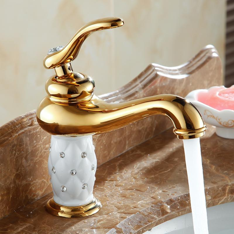 Free Shipping bathroom basin gold faucet ,Brass with Diamond/crystal body tap New Luxury Single Handle hot and cold tap