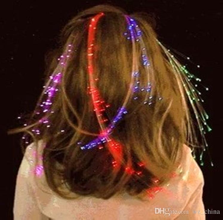 Luminous Braid Hair Jewelry Decoration Flash Fiber LED Optic Wire Hairpin Novelty Decoration Plait Women Girls Pigtail Disco Flash Toys