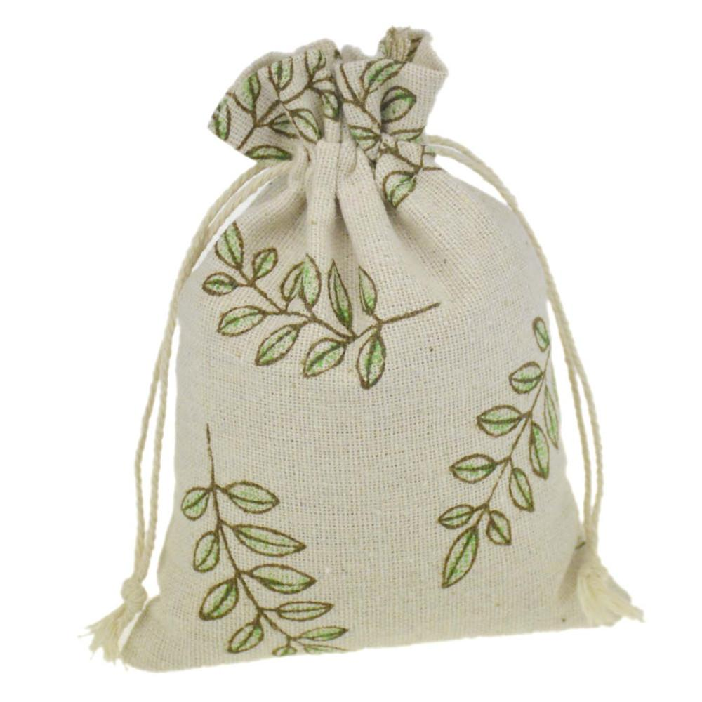 10x14cm Handmade Jewelry Bags Leaf Printing Cotton Linen drawstring Package bags Sack Jewelry Pouches wedding bomboniera Gift burlap bags