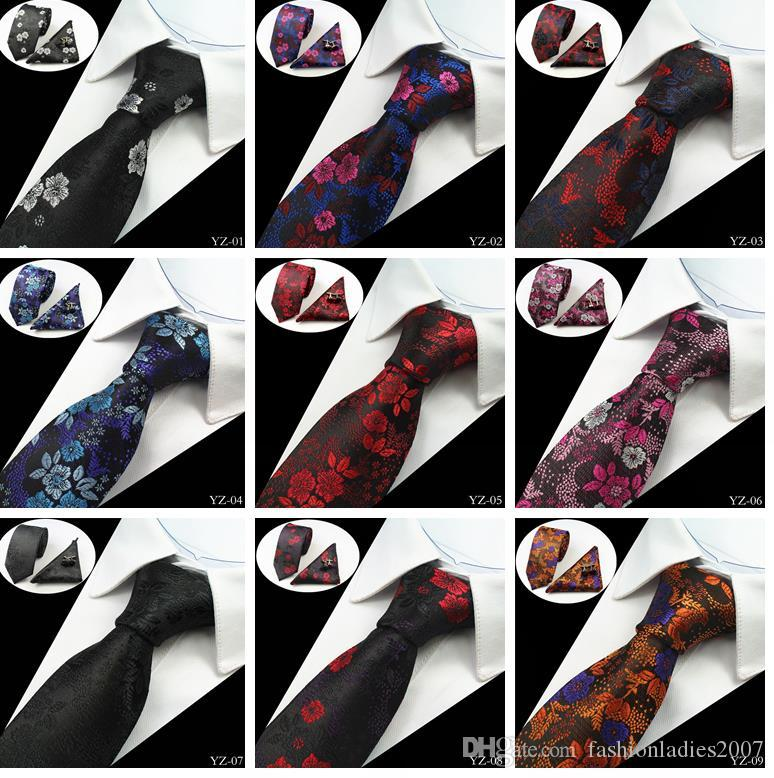 20 Stiller Erkek Kravatlar Erkekler Örgün Düğün için Çiçek% 100 İpek Jakar Dokuma Kravat Gravatá Corbatas Hanky Kravat Set setleri