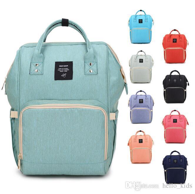 14 cores Lager Capacidade Mummy Multifunction Backpack Fralda Bag Desiger Outdoor Viagem Stroller bebê de enfermagem Bag Baby Care Para