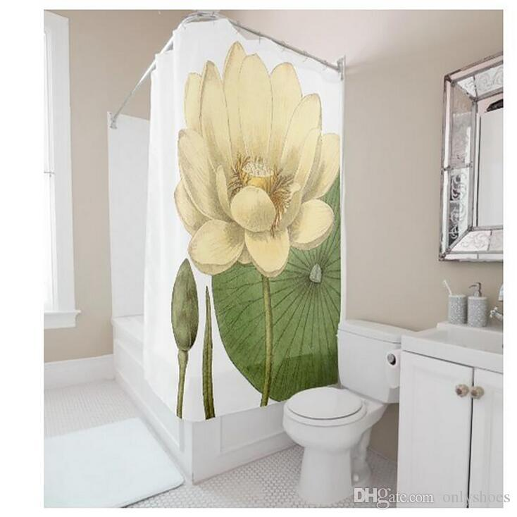 Customs 36/48/60/66/72/80 (W) x 72 (H) Inch Shower Curtain Lotus Grace Waterproof Polyester Fabric Diy Shower Curtain