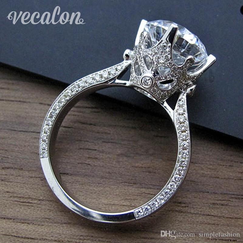 Vecalon Novas Mulheres Jóias Vintage anel Rodada 3ct Simulado diamante Cz 925 Sterling Silver Anel de Noivado casamento banda para mulheres