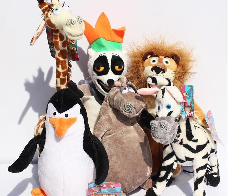 2017 Madagascar Alex Marty brinquedos leão zebra do macaco do girafa Melman Gloria pelúcia pinguim hipopótamo brinquedos macios 25cm 6pcs / lot