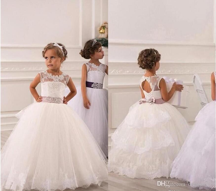 2017 Cheap Flower Girl Dresses For Weddings Vintage Jewel Sash ...