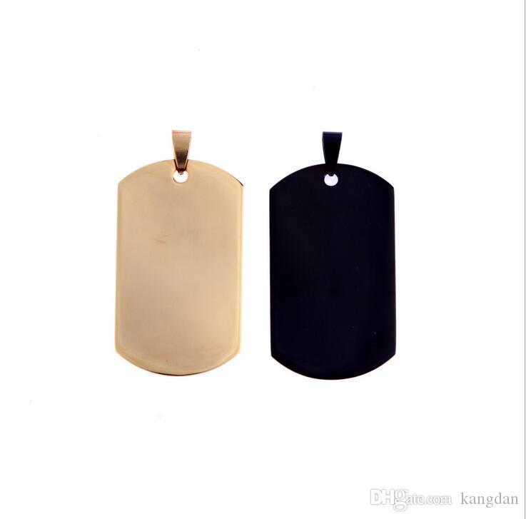 الجيش نمط الفضة الذهب الأسود قلادة قلادة مصقول dog tag رجال نساء ستانلس ستيل قلادة الخرزة سلسلة قلادة هدية