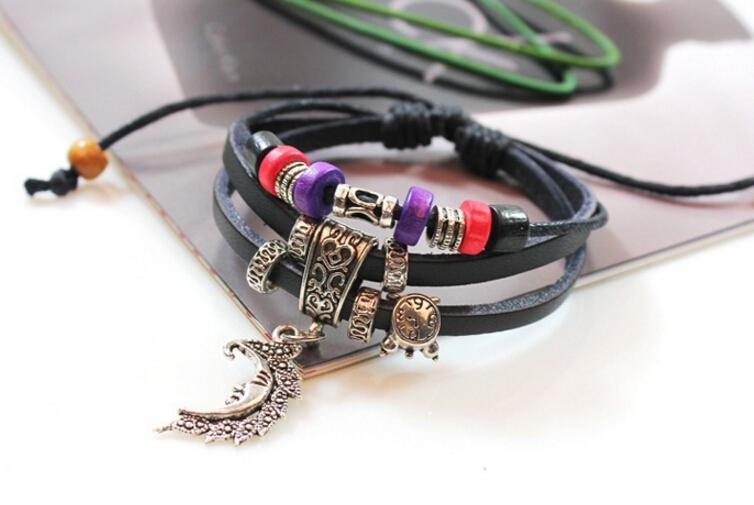 2016 été européen et américain en alliage de cuir chaud bracelet perlé populaire ornements féminins bracelet tissé multicouche