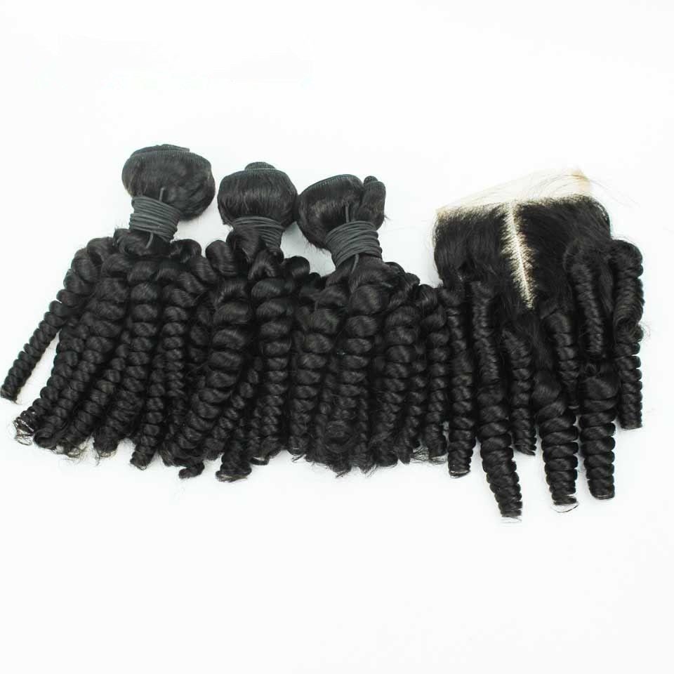 페루 Aunty Funmi 인간의 머리카락 4 * 4 레이스 클로저 로맨스 곱슬 머리카락 3Bundles 클로저와 4Pcs / Lot 페루 머리카락과 함께