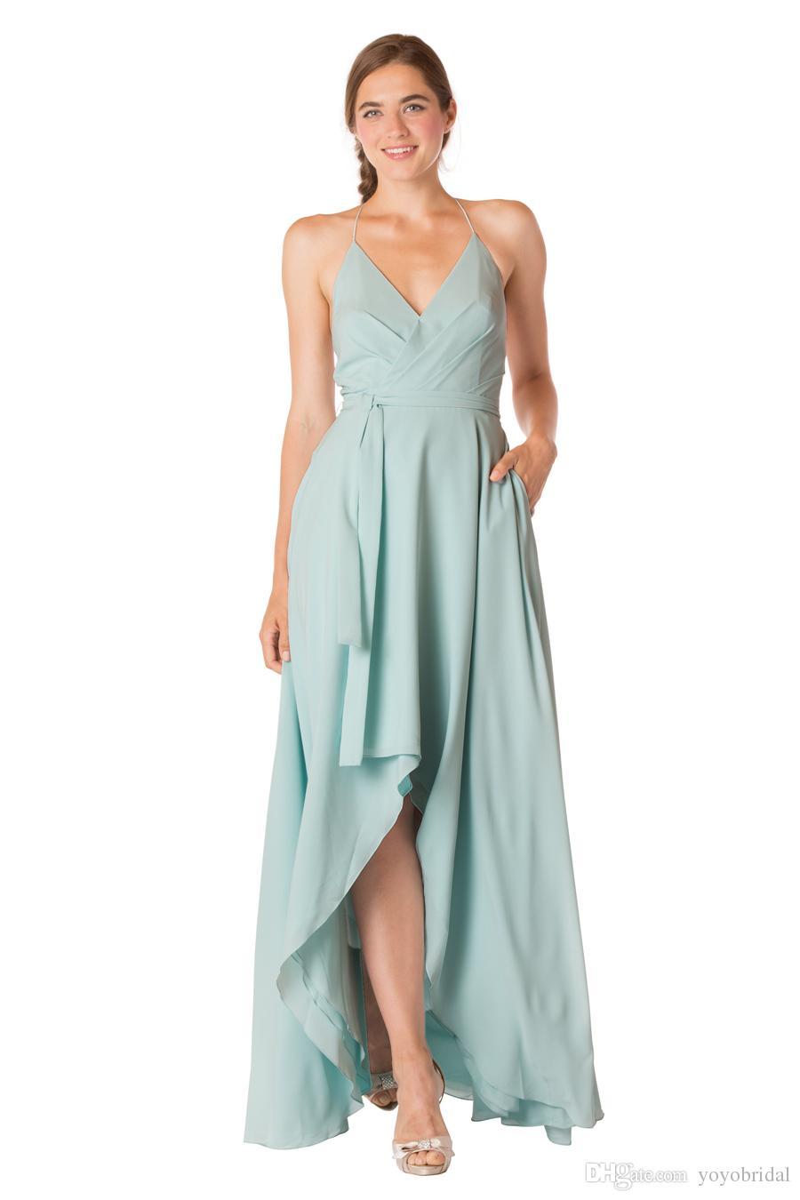 Light Mint 2017 Bridesmaid Dresses Short Front Long Back Halter ...