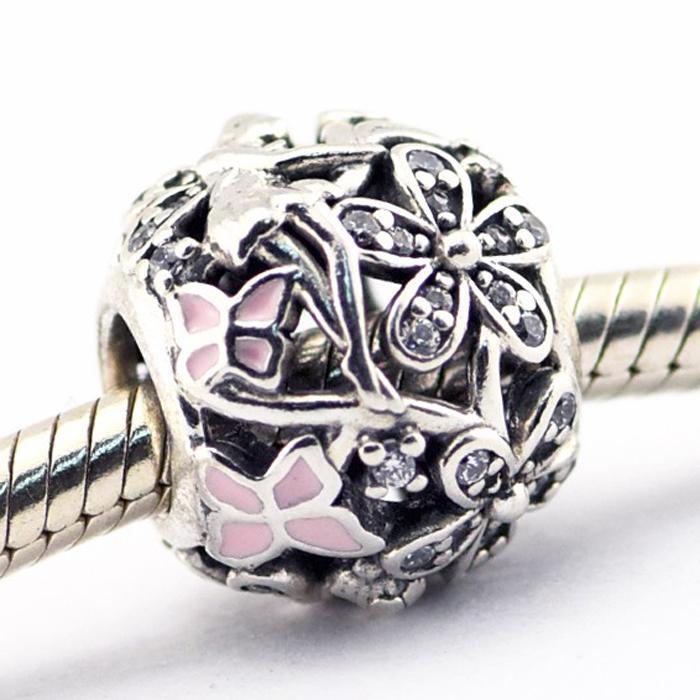 Dazzling Gänseblümchen-Fee Hellrosa Emaille freie CZ 100% 925 Sterlingsilber-Korne paßt Pandora Armband authentischen DIY Art und Weise Schmuck