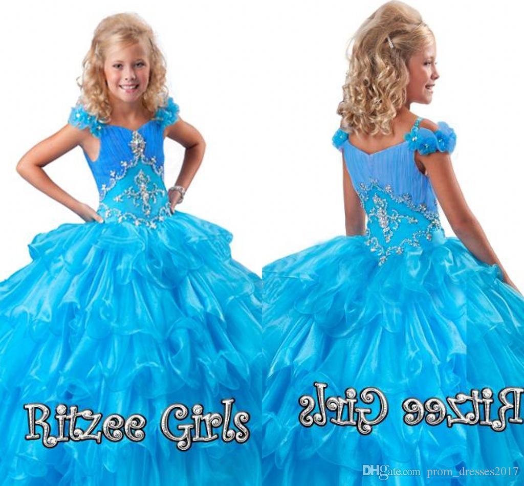 저렴한 프로 모션 계층 드레스 플로랄 슬리브 Ruffled 스커트 미인 가운 ritzee 여자 Organza 여자 미인 드레스 HY1152