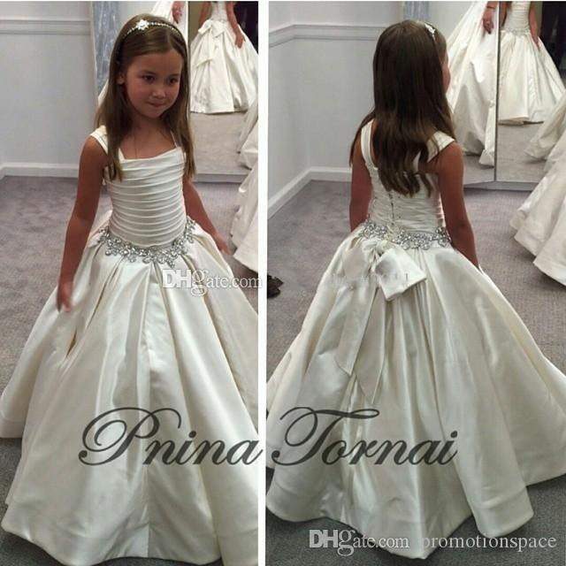 2016 Gorgeous Ivory Little Flower Gril's Dresses with Lace-up Back PNINA TORNAI Beaded Birthday Girls Pageant Gowns for Teens