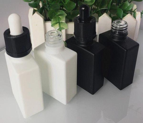 30ml vape e jugo botellas vacías cuadrado negro 30ml gotero botellas planas de vidrio blanco rojo púrpura marrón color a prueba de niños gotero tapas