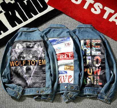 2017 nuevos Hombres Chaqueta de Mezclilla de moda hip-hop impresión de la marca Jeans Chaquetas Slim fit streetwear casual Vintage chaqueta masculina abrigo M-5XL