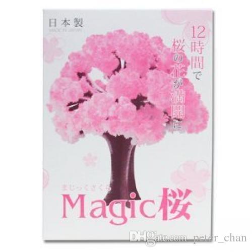 iWish 2017 Visual 14x11cm Pink Big Grow Magic Paper Sakura Tree Magically Growing Japanese Trees Kit Desktop Cherry Blossom Christmas 100PCS