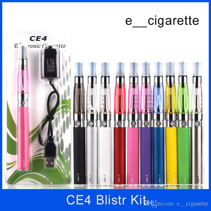 EGOスターターキットCE4アトマイザー電子タバコE Cig Vape Kit 650mAh 900mAh 1100mah EGO-TバッテリーCE4ブリスターキットクリアマイザーEサブタイザ