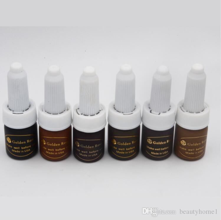 Envío gratis 6 unid cosmético rosa de oro del tatuaje de tinta permanente maquillaje micro pigmento color