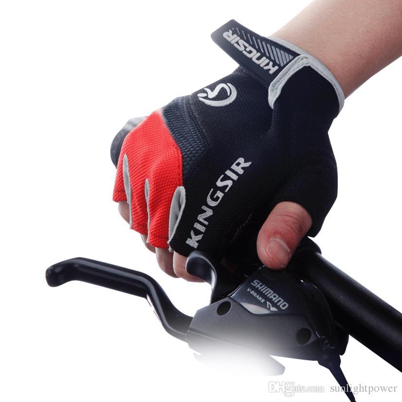 1 Par Guantes de deporte al aire libre Verano Ciclismo Bicicleta Bicicleta Equitación Gimnasio Medio dedo Guantes Mitones a prueba de golpes