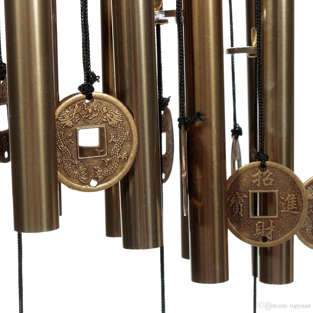 Outdoor hanging ornaments - 2017 10 Metal Tubes Wind Chimes Yard Outdoor Window Home Decor Gift Hanging Ornaments 65cm From Topyuan 6 23 Dhgate Com