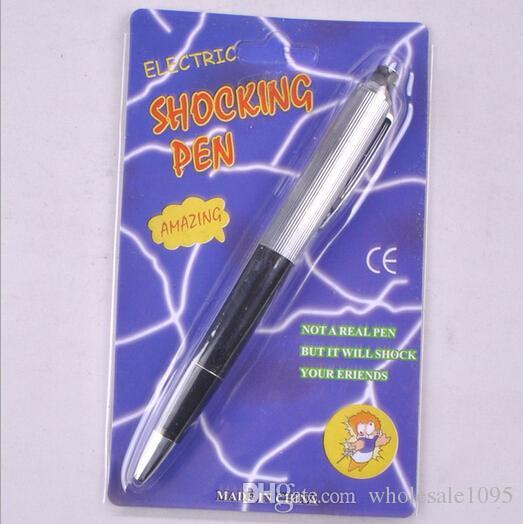 Free Shipping 20pcs/lot Electric Shock Ballpoint Working Pen Gag Funny Gift Prank Joke Shocker