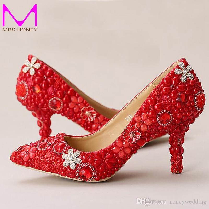 Rote hochzeitsschuhe spitz formelle kleidung schuhe perle strass brautschuhe frauen high heels mutter der braut schuhe