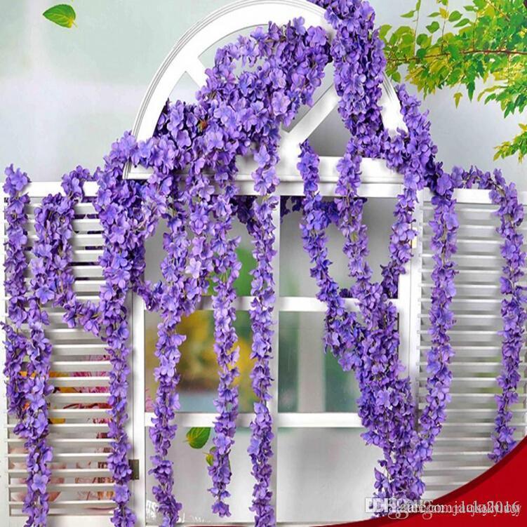 """90 """"(230cm) Super Long Fleur Artificielle Fleur Hortensia Wisteria Guirlande Pour Jardin Décoration de Mariage Fournitures 6 Couleurs Av"""