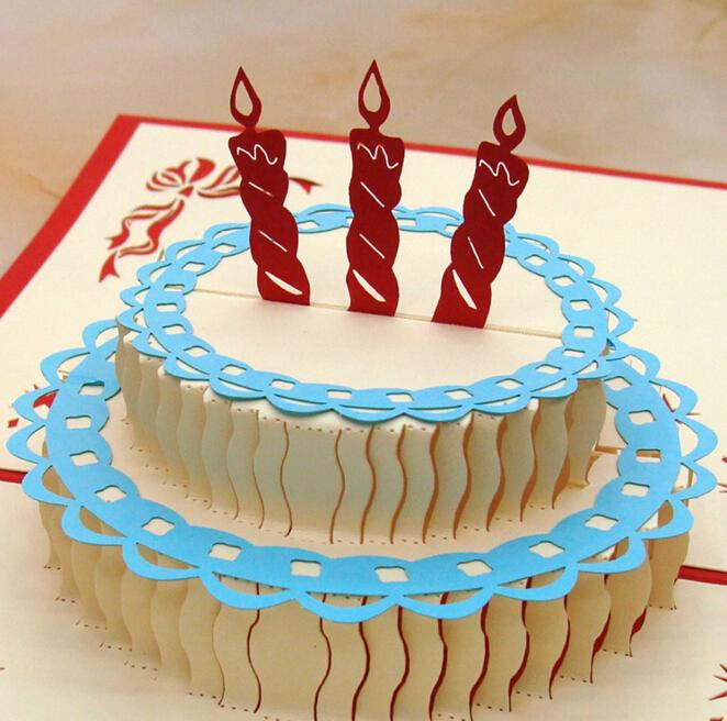 Happy Birthday Cake 3D Popup Greeting Card Gift 10 Pcs Lot