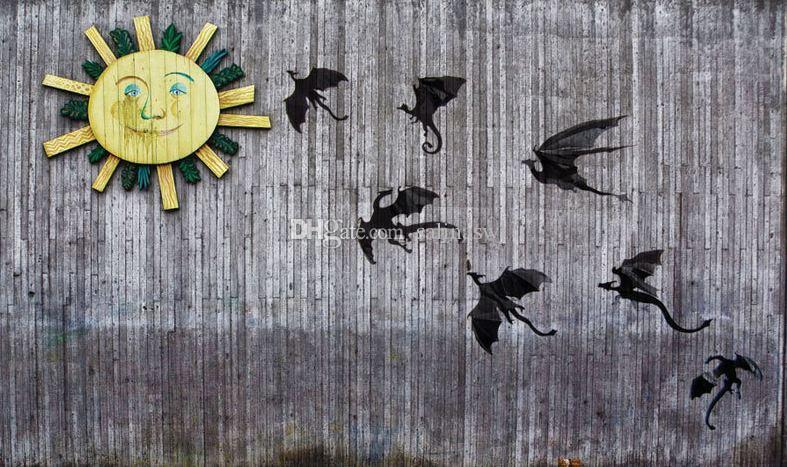 7 قطع 3d الأسود التنين الجدار ملصق دينوس جدار الفن الخيال هالوين الديكور لصائق المنزل والأبواب والأشجار