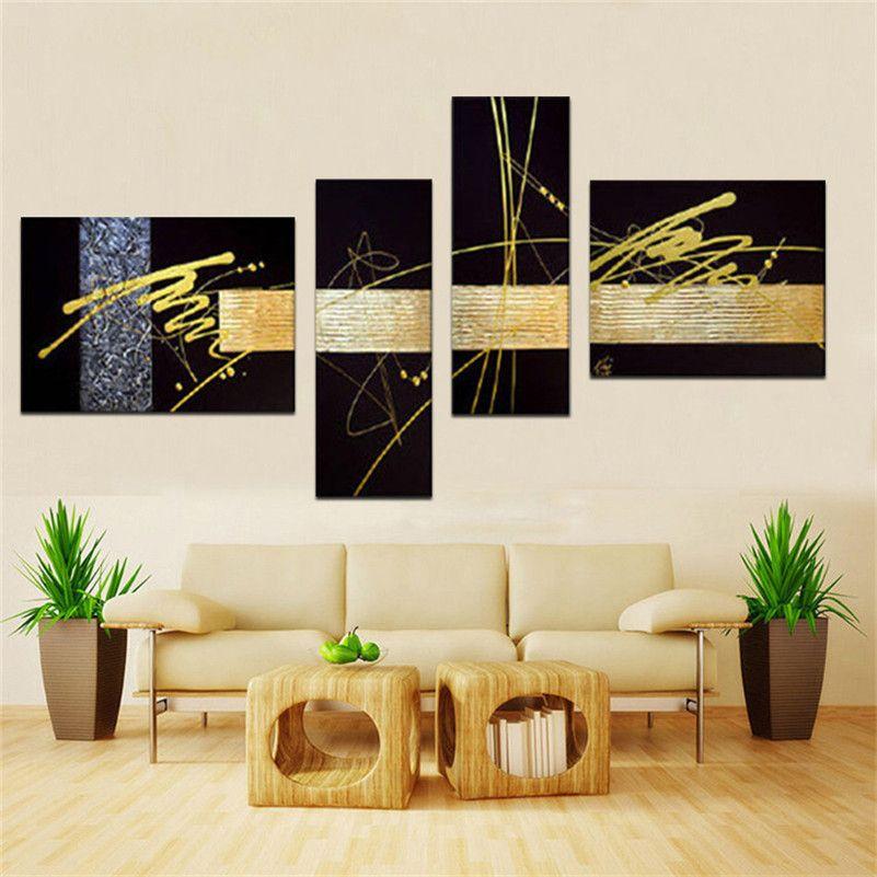 Handgemachtes 4 Stück / Satz schwarzes Goldsilber moderne abstrakte Wandkunst-Ölgemälde auf den Leinwandbildern einzigartiges Geschenk für Wohnzimmer