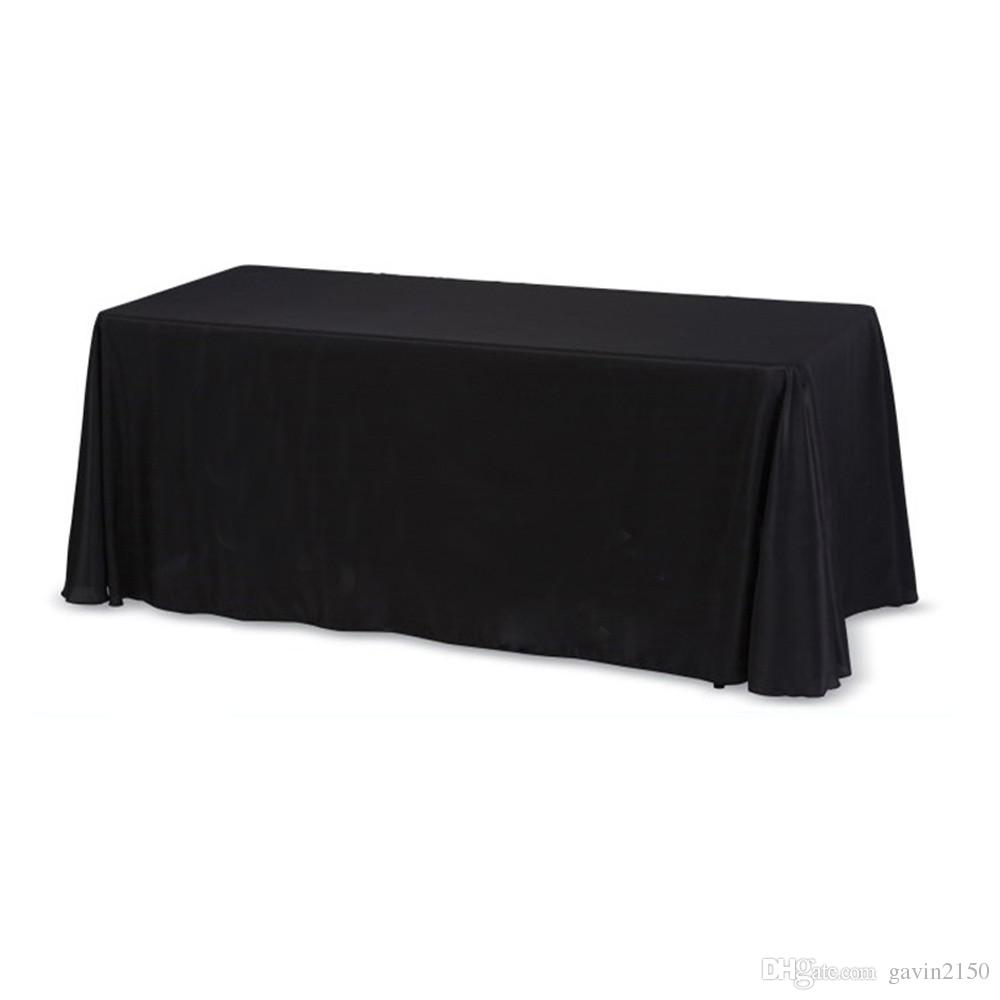 5pcs High Quality Rectangular 145*304cm Satin Tablecloth Table Cover For Wedding Party Banquet Hotel Decoration Black