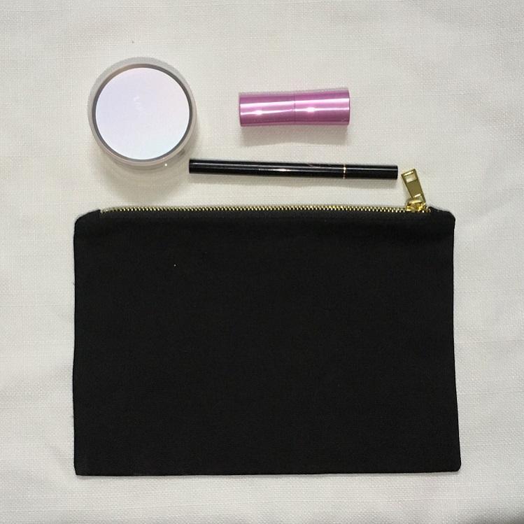 Blanks Oz Black Black Case Bag Blank Algodón 12 Novia Embrague Logro personalizado Nombre Cosmetic Party Gold Zipper Regalo Purse M DXNVB