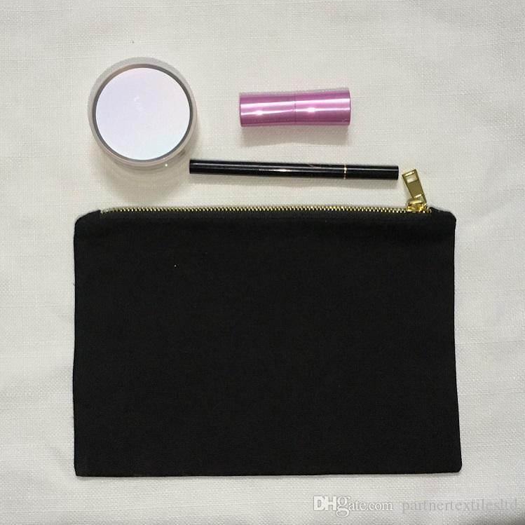 블랙 메이크업 가방 빈 코 튼 캔버스 메이크업 케이스 일반 검은 색 화장품 가방 클러치 백 골드 메탈 지퍼