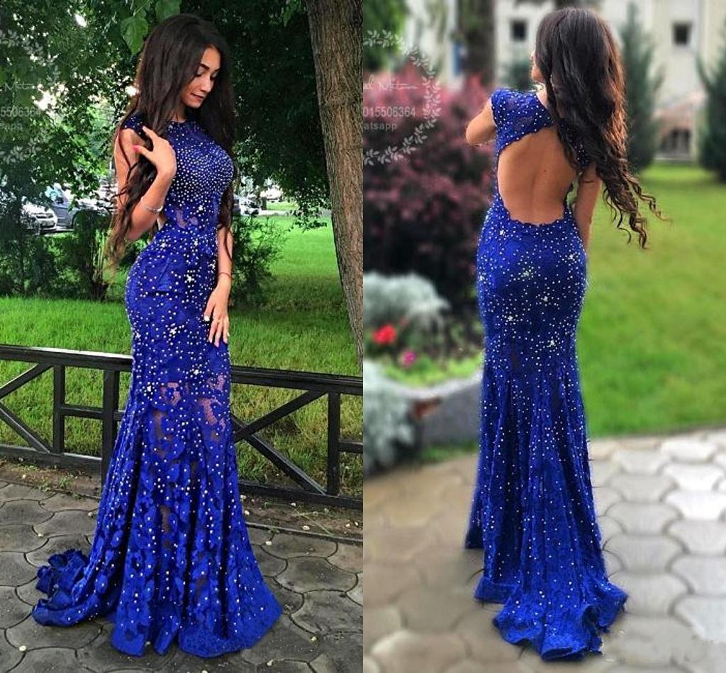 select for best 2019 wholesale price exquisite design 2018 Royal Blue Lace Prom Dresses Shiny Beaded Crystal Mermaid Backless  Evening Dress Women Formal Graduation Party Dress Short Gowns Silver Prom  ...