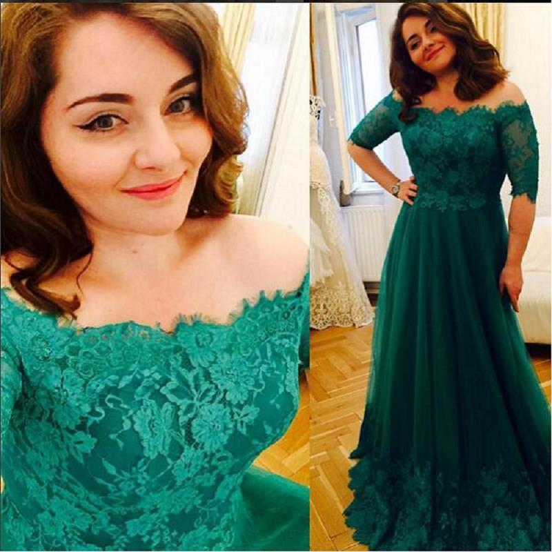Emerald Green Plus Size Prom Dresses Off The Shoulder A-line Tulle Appliques Pizzo 2017 Maxi Evening Party Gowns Mezze maniche