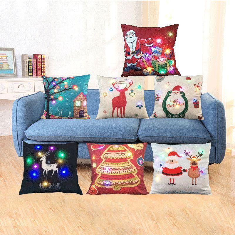 45 * 45cm luminoso LED Cojín de lino almohadilla de tiro del caso para el sofá Inicio de Navidad Decoración de la batería no está incluido