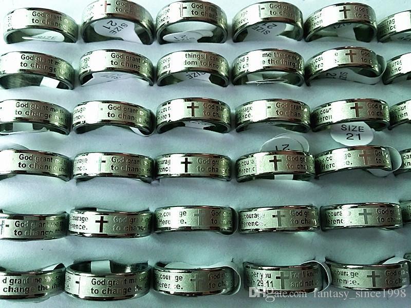 새로운 25PCs 영어 평온기도 에칭 세련된 스테인레스 스틸 남성 쥬얼리 도매 혼합 많이