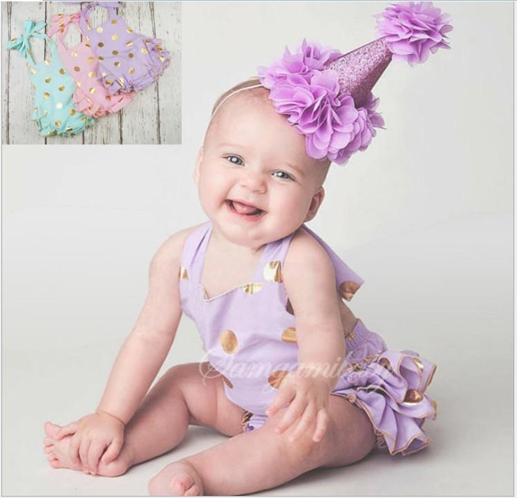 2016 zomer baby kleding peuter baby gouden polka dots romper jurk baby meisjes mouwloze prinses verjaardag jurken jumpsuits 4 stks / partij