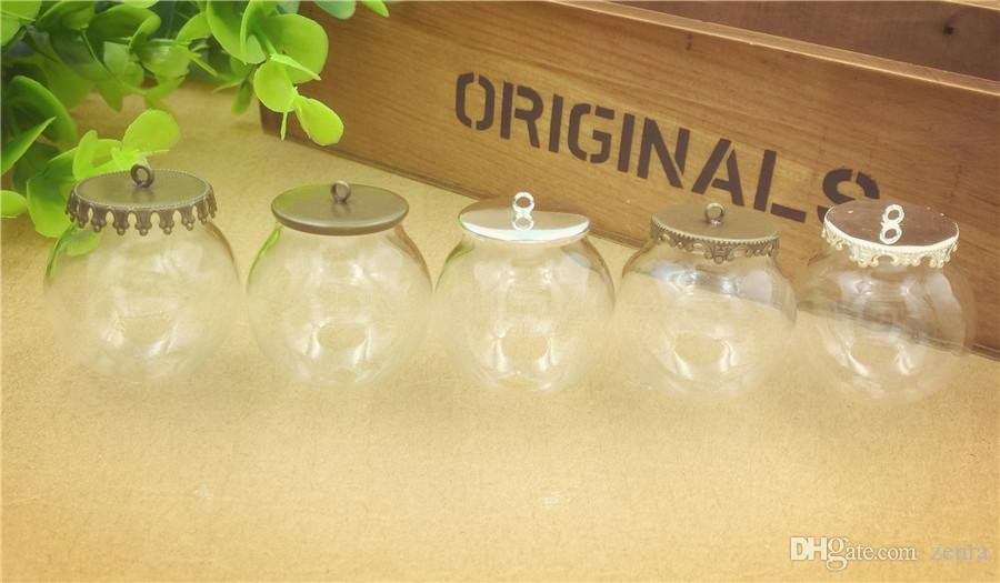 30*20mm empty clear glass globe bottle with hanger ring cap glass dome cover glass vial pendant charms fashion jewelry findings