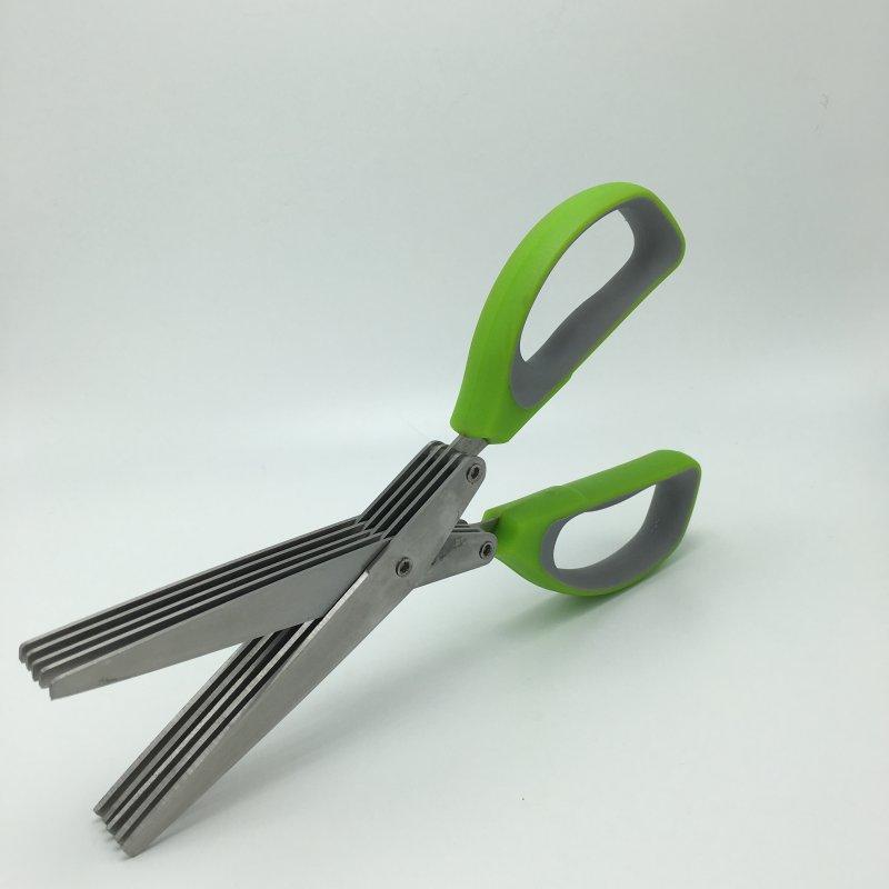 Heavy Duty Chopping Scissors 5 Blades With Brush Seaweed Vanilla Office Cut Shredding Scissors Sharp Herb Green Onion Tool Best Quality