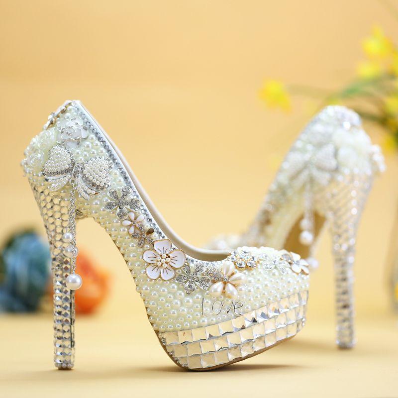 Bowtie de lujo zapatos de boda de cristal marfil perla zapatos de novia más el tamaño de la cena de la boda fiesta de graduación tacones altos hechos a mano bombas de las mujeres