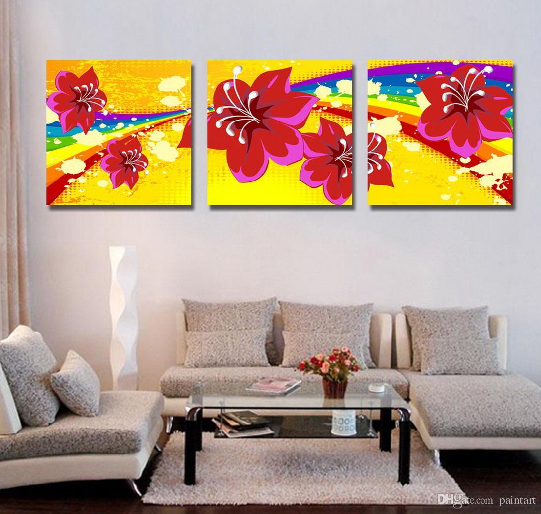 Morden Flores Abstratas Pintura Floral Giclee Impressão Na Lona Decoração Da Parede Home Set30044
