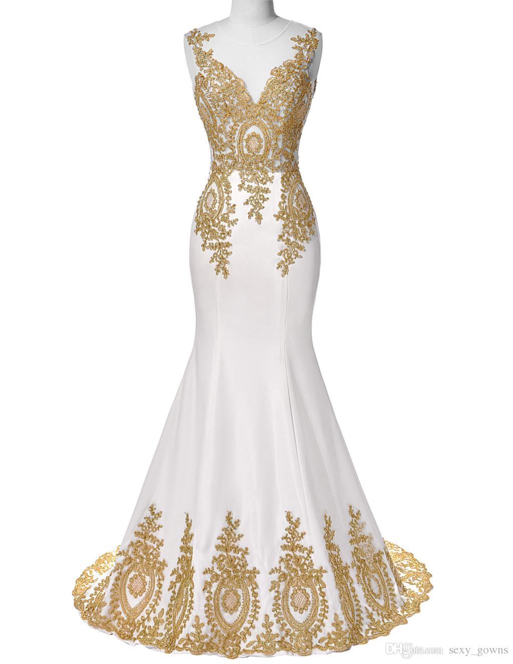 Grace Karin White Mermaid Prom Dress 2016 Dubai Arabic Gold Appliques Long Gowns Formal Dresses