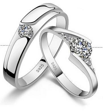 커플 결혼 반지에 대 한 925 스털링 실버 다이아몬드 반지 선물 좋은 품질 베스트 셀러 Dhl 무료 배송