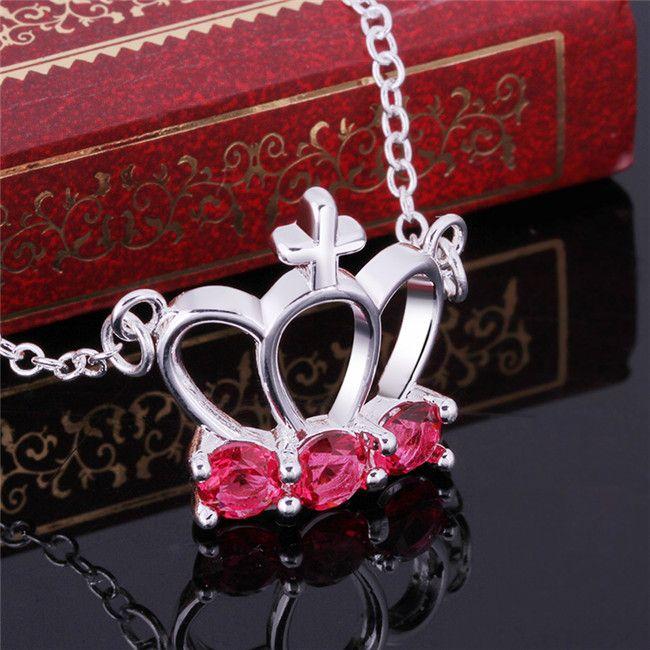 Meilleur collier plaqué argent cadeau collier pendentif couronne de pierres précieuses rouge lmperial femmes sterling STSN614, mode vente chaude 925 collier en argent