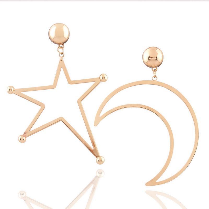 خمر القمر ستار إسقاط أقراط الذهب اللون بيان أقراط طويلة للنساء الأزياء والمجوهرات فاسق الملحقات
